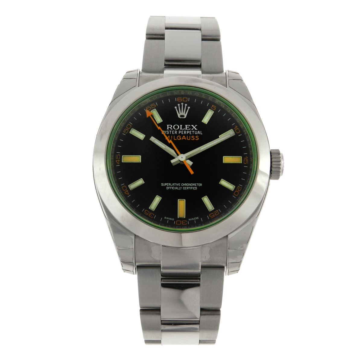 3ef4c053144 Relógio Rolex Oyster Perpetual Milgauss – Referencia 116400GV – Green –  Melhores Lotes